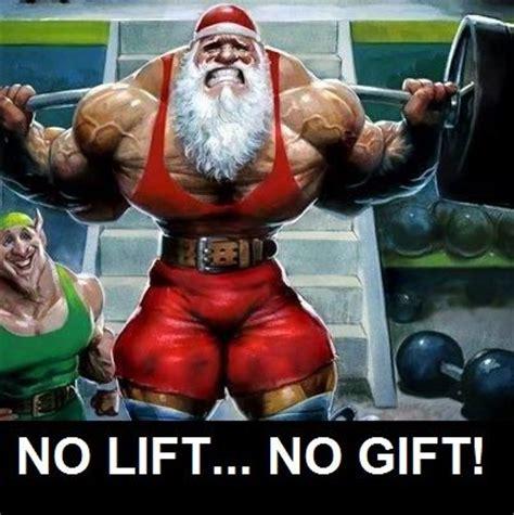 "jacked santa says ""no lift, no gift!"" keep training over"