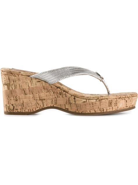 burch sandals wedge lyst burch cork wedge sandals in metallic