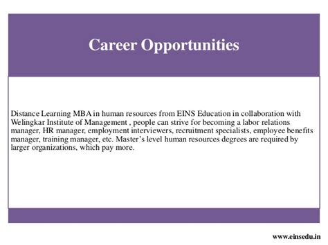 Benefit Of Mba In Hr by Distance Learning Mba In Human Resource Management From