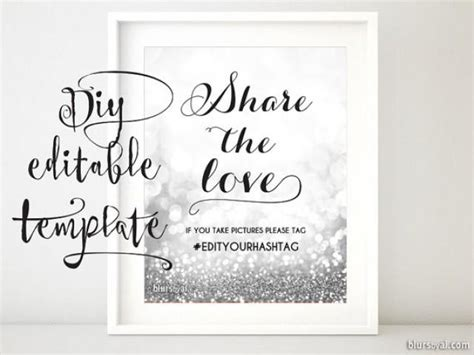 printable hashtag sign template diy wedding hashtag sign