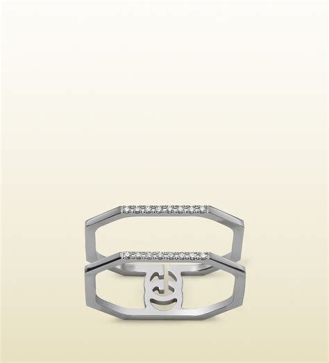 Guc Ci Silver White gucci white gold and running g ring in silver