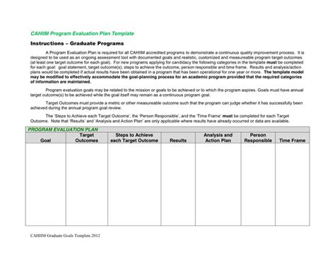 program evaluation plan template in word and pdf formats