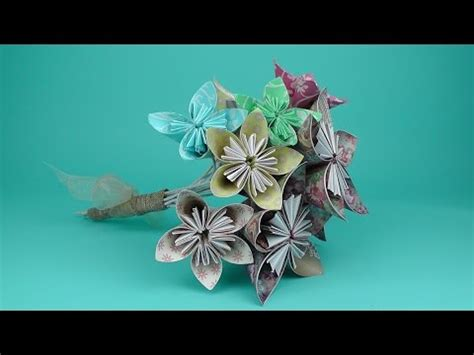 origami paper flower bouquet tutorial how to make an origami flower bridal bouquet tutorial