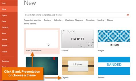 create a template in powerpoint powerpoint 2013 creating and opening presentations page 1