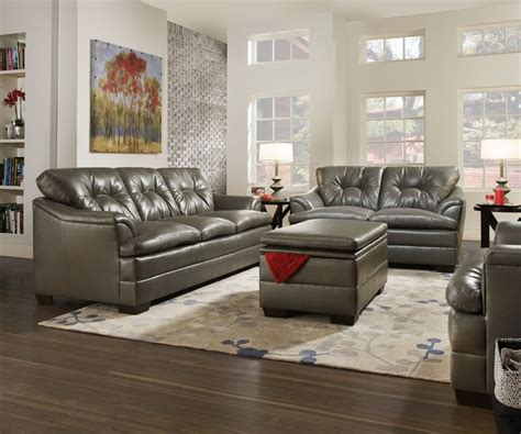 simmons grey leather sofa gray contemporary tufted bonded leather living room sofa