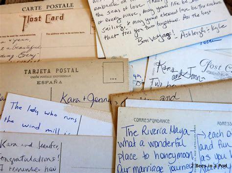 postcard wording ideas for wedding guest book vintage postcard wedding guest book 2 bees in a pod