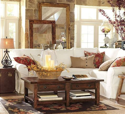Lovely Primitive Decor Living Room #3: Amazing-Design-Of-The-Living-Room-Areas-With-White-Sofa-Added-With-Brown-Wooden-Table-As-The-Pottery-Barn-Living-Room.jpg