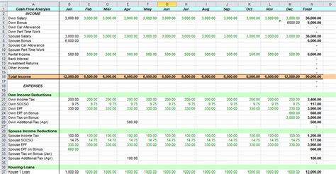 excel flow template excel yearly personal flow in excel
