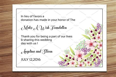 donation card template free wedding favor donation card template card templates