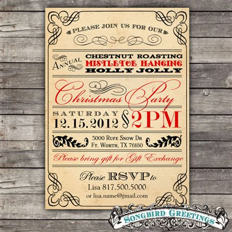 diy vintage christmas party invitation customizable 30
