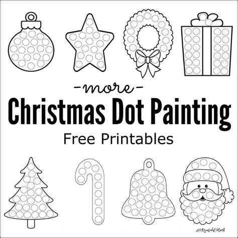 More Christmas Dot Painting Free Printables The Resourceful Mama Painting Sheets