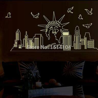Statue Of Liberty Ay807 Stiker Dinding Wall Sticker Diskon stiker dinding new york stiker dinding murah