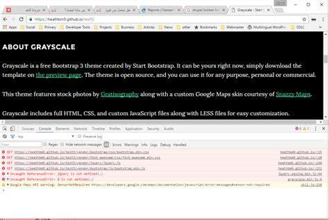 google themes not displaying javascript start bootstrap theme not displaying
