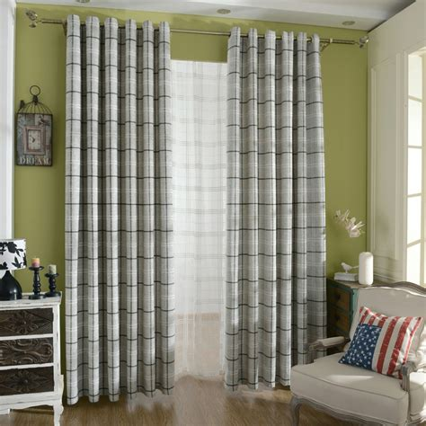 Grey Plaid Curtains Japanese Style Light Gray Cotton Linen Plaid Curtains