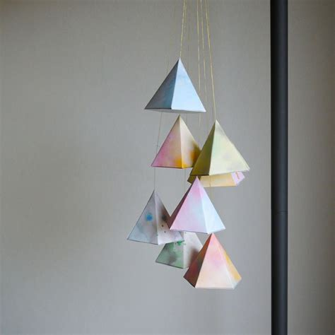 Paper Hanging Crafts - diy hanging geometric paper shapes crafts