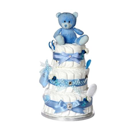 signature three tier blue boys nappy cake new baby gifts