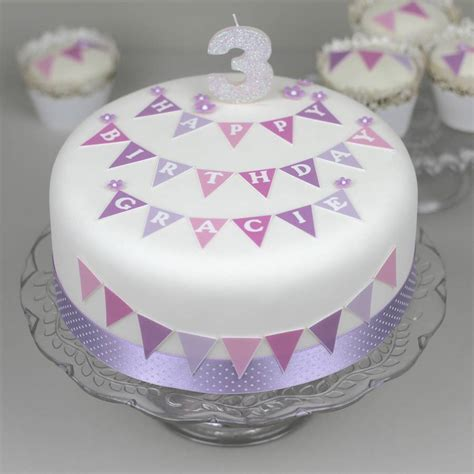 personalised bunting birthday cake decorating kit by
