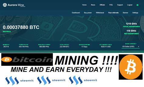 Bitcoin Cloud Miner Earn Btc by Earn Bitcoin Everyday Daily Bitcoin Mining Daily