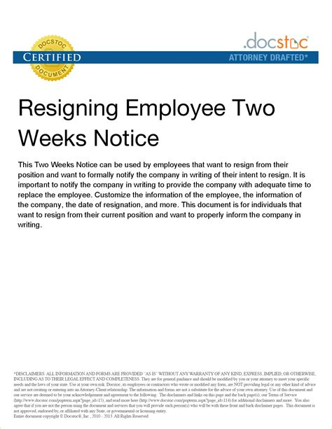 2 week notice letter to employer business templated business templated