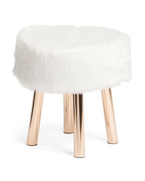 mongolian fur vanity stool faux mongolian fur stool accent vanity stools t j maxx