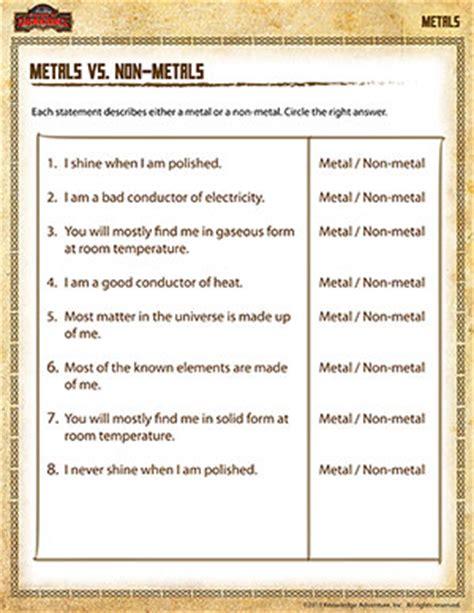 grades of metal metals vs non metals 5th grade science printables