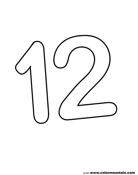 Number Twelve Coloring Sheet Create A Printout Or Activity Coloring Pages For 12 And Up