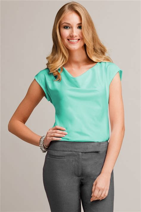 Blouse Tifany cowl neck blouse coolstretch blue