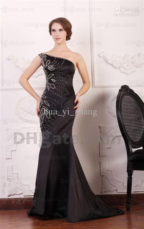 sexy black satin mermaid prom dresses  shoulder