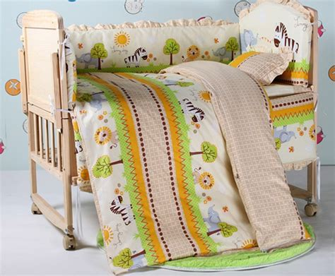 promotion 7pcs cotton fabrics baby bedding sets baby cot
