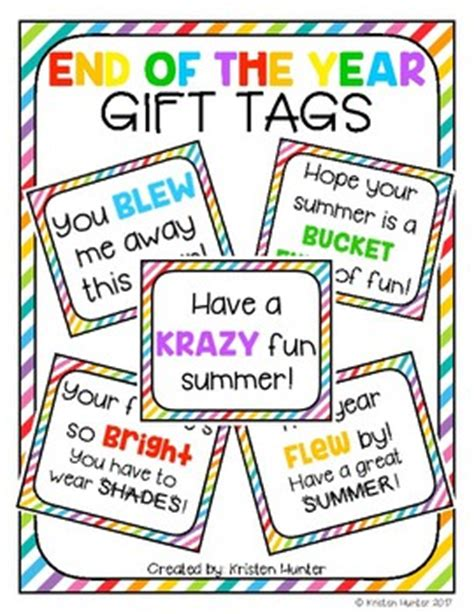 printable end of year gift tags end of the year gift tags by kristen hunter teachers pay
