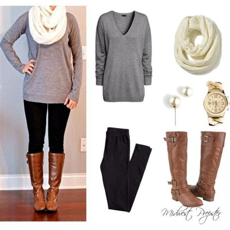 fall brown boots white scarves and gray sweater