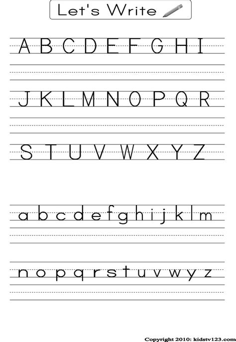 printable alphabet test for kindergarten alphabet writing practice sheet esl activities