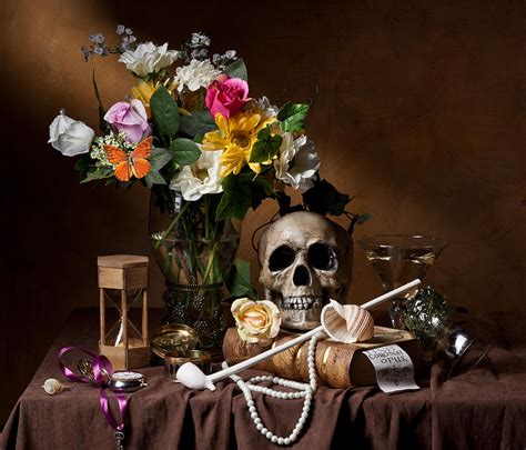 vanitas with flowers bouquet skull hourglass clay pipe and