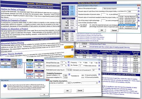 excel valuation template excel real options valuation template