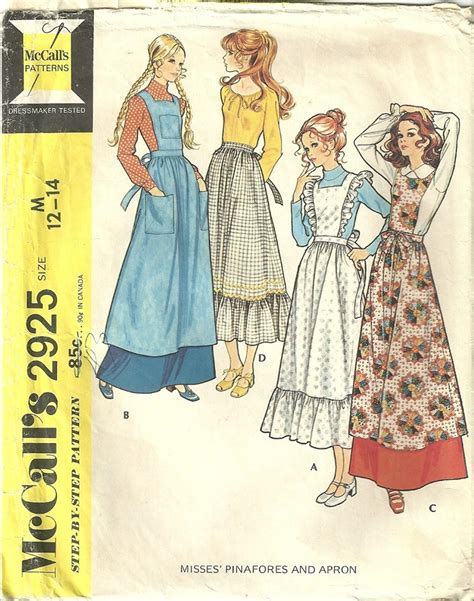 pattern for amish apron classy patterns mccalls 2925 vintage 1971 amish pinafore