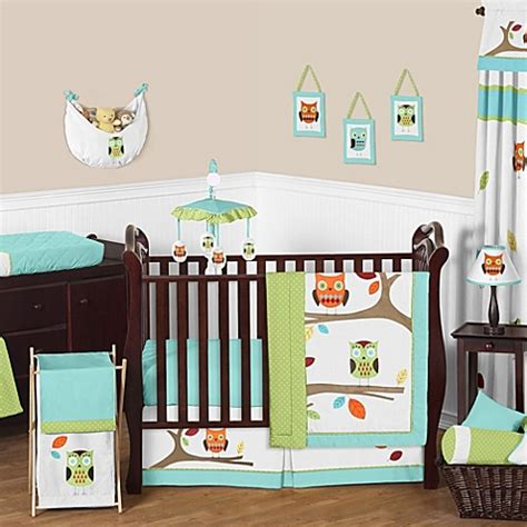 turquoise crib bedding sweet jojo designs hooty collection in turquoise lime