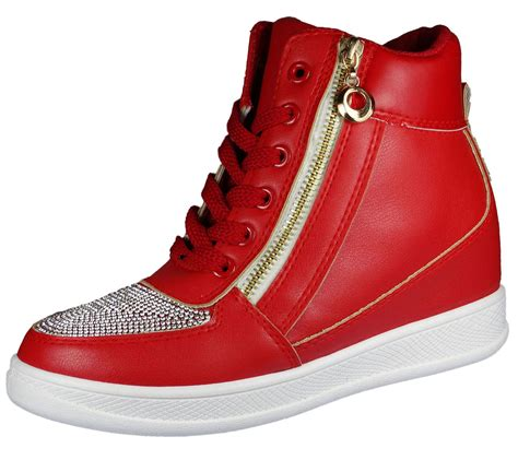 womens lace up wedge heel shoes high top casual boot