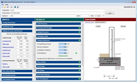 cantilever retaining wall soilstructure software