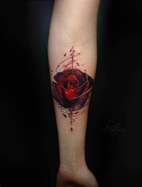 rose tattoo red designs lower inner arm amazing