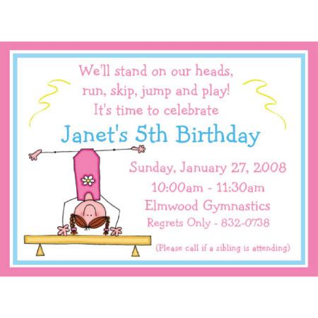 40th Birthday Ideas Birthday Invitation Templates Gymnastics Gymnastics Birthday Invitation Templates