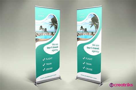 Roll Up travel roll up banner v012 presentation templates creative market