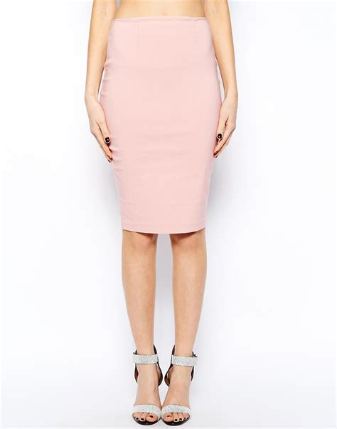 asos high waisted pencil skirt in pink lyst