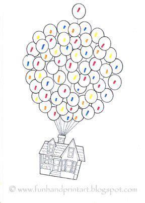 disney printable up house with balloons disney pixar s up thumbprint crafts fun handprint art