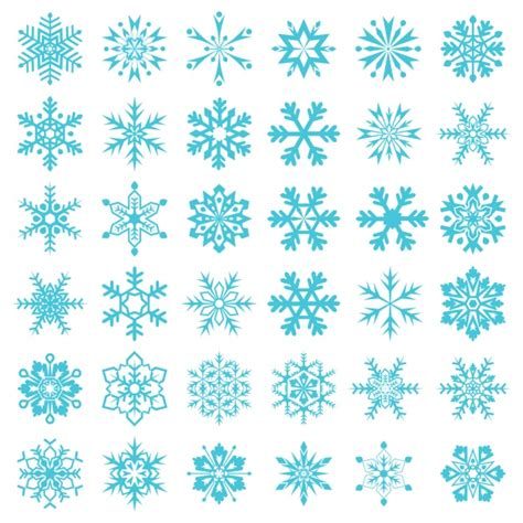blue snowflakes collection vector free download