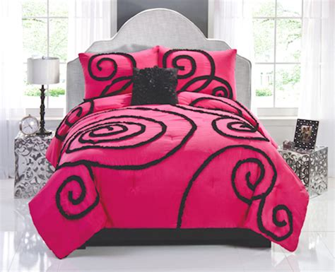 hot pink comforter hot pink black teen girl bedding full queen comforter