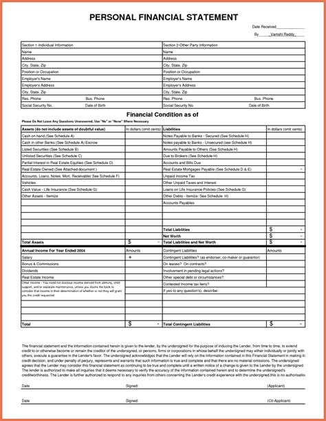 Financial Letter Exle Personal Financial Statement Excel Bio Exle