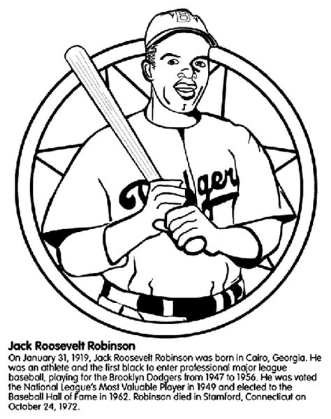 Coloring Page For Jackie Robinson | jackie robinson baseball player coloring page crayola com