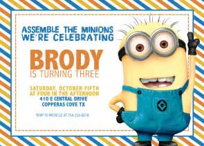 Minion Card Template by Minion Birthday Invitations Ideas Drevio