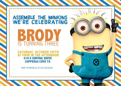 printable minion birthday party invitations ideas