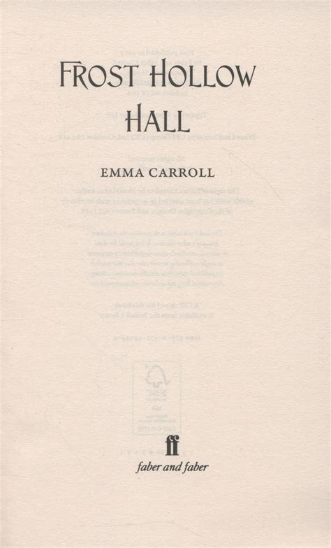 frost hollow hall frost hollow hall by carroll emma 9780571295449 brownsbfs